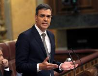 Pedro Sánchez en la tribuna del Congreso