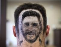 Fotografía del 'tatuaje capilar' de Messi.