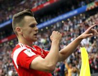Chéryshev celebra uno de los goles ante Arabia Saudí. /EFE
