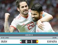 Isco y Costa celebran el gol del delantero.