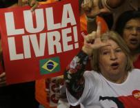 Acto de lanzamiento nacional de la precandidatura a la Presidencia de Luiz Inácio Lula da Silva por el Partido de los Trabajadores (PT) en Contagem, Minas Gerais (Brasil). EFE/ Paulo Fonseca