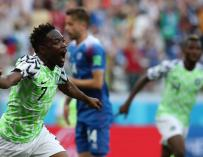 Musa celebra el gol a Islandia. /EFE