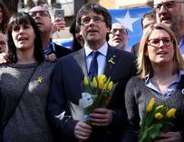 Carles Puigdemont tras una rueda de prensa en Berlín