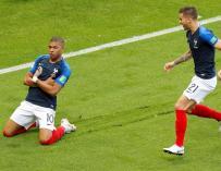 Fotografía de Kylian Mbappé tras anotar uno de sus goles ante Argentina.