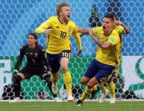 Fosberg celebra el gol de Suecia. /EFE