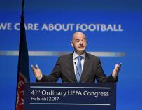 Gianni Infantino, presidente de la FIFA, durante el último congreso de la UEFA.