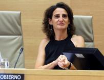 La ministra para la Transición Ecológica, Teresa Ribera, durante su comparecencia