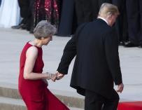 Donald Trump junto a Theresa May durante su visita a Reino Unido