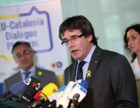 Puigdemont durante una rueda de prensa en Berlín./ EFE