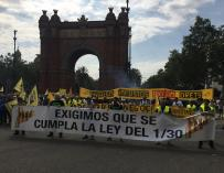 Élite Taxi se ha manifestado este miércoles en Barcelona con el sector del taxi