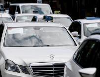 La huega de taxis fue secundada en varios puntos de España, en la imagen, paros en el País Vasco
