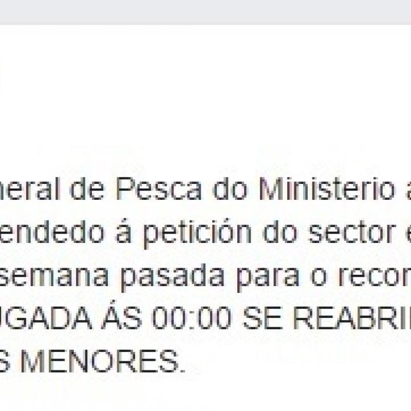 Mar anuncia que el ministerio reabre la pesquer a de la for Ministerio de pesqueria